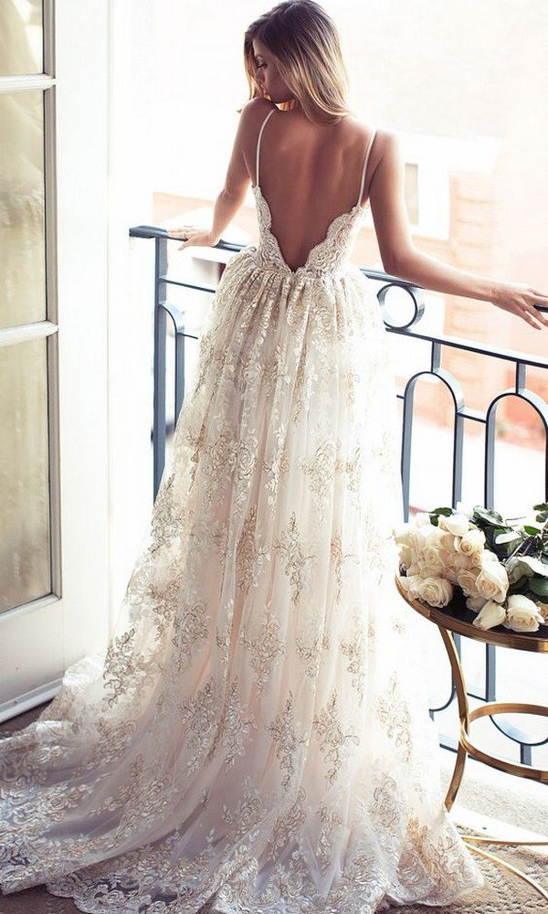 vintage open back lace wedding dress with Spaghetti Straps