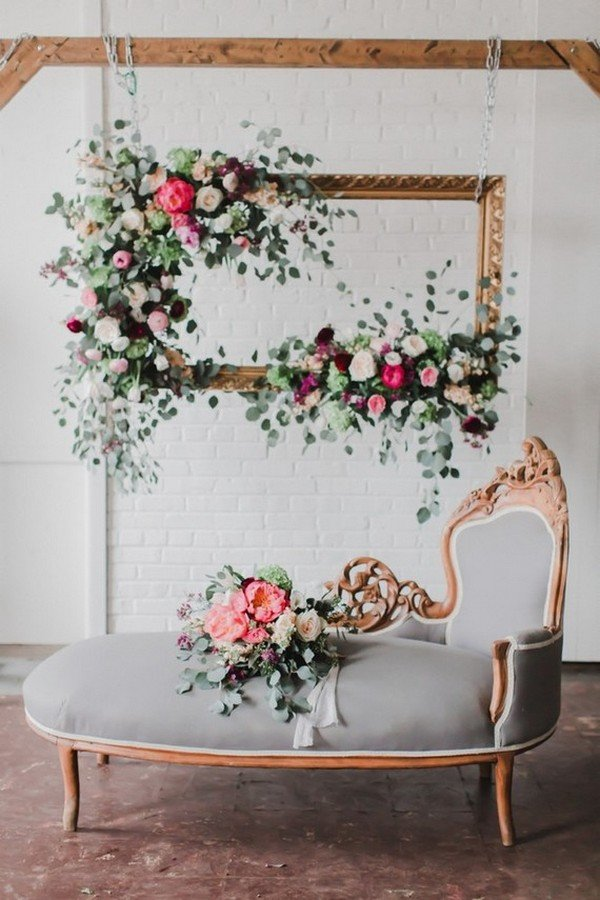 chic vintage floral photo booths wedding backdrop ideas