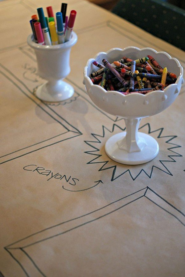 coloring kids table for wedding reception ideas