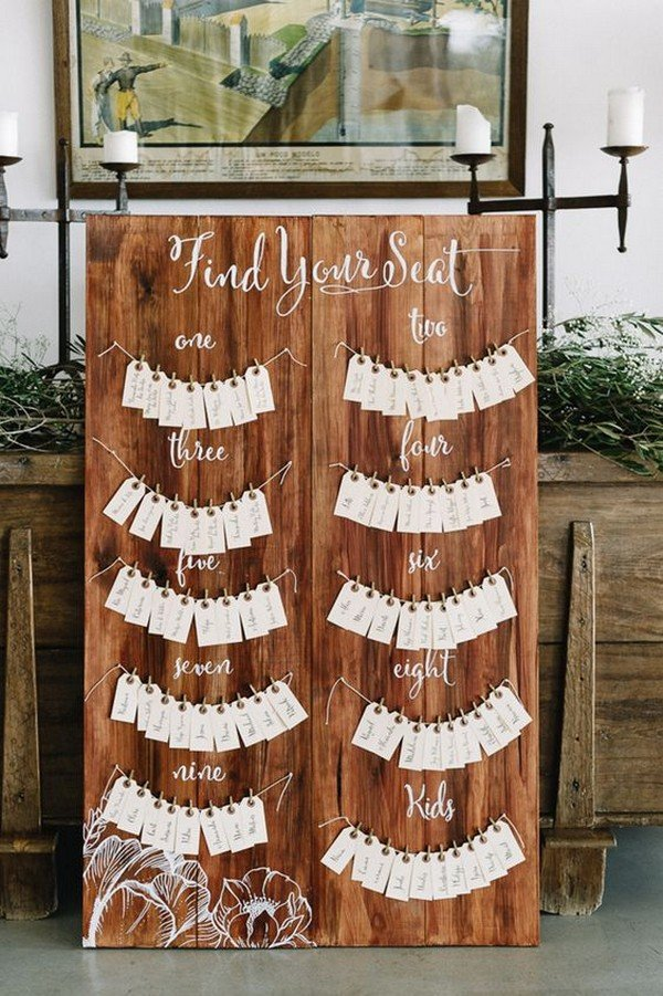 country rustic wedding escort card display ideas