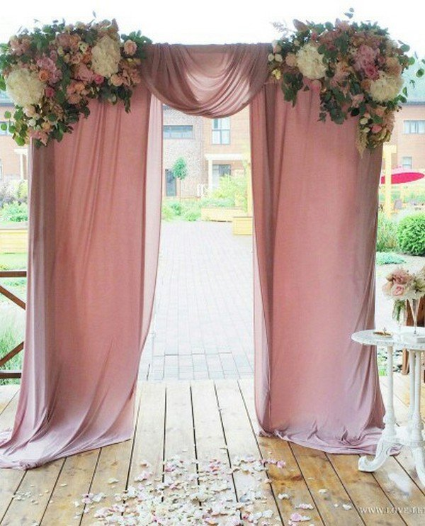 dusty pink wedding arch decoration ideas