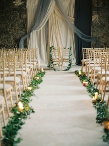 elegant wedding aisle and backdrop decoration ideas with greenery floral