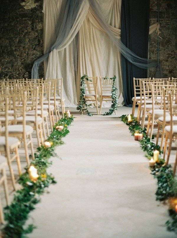 Elegant Wedding Aisle And Backdrop Decoration Ideas With Greenery