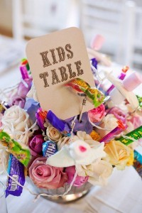 having candy in the flower arrangement wedding kids table ideas