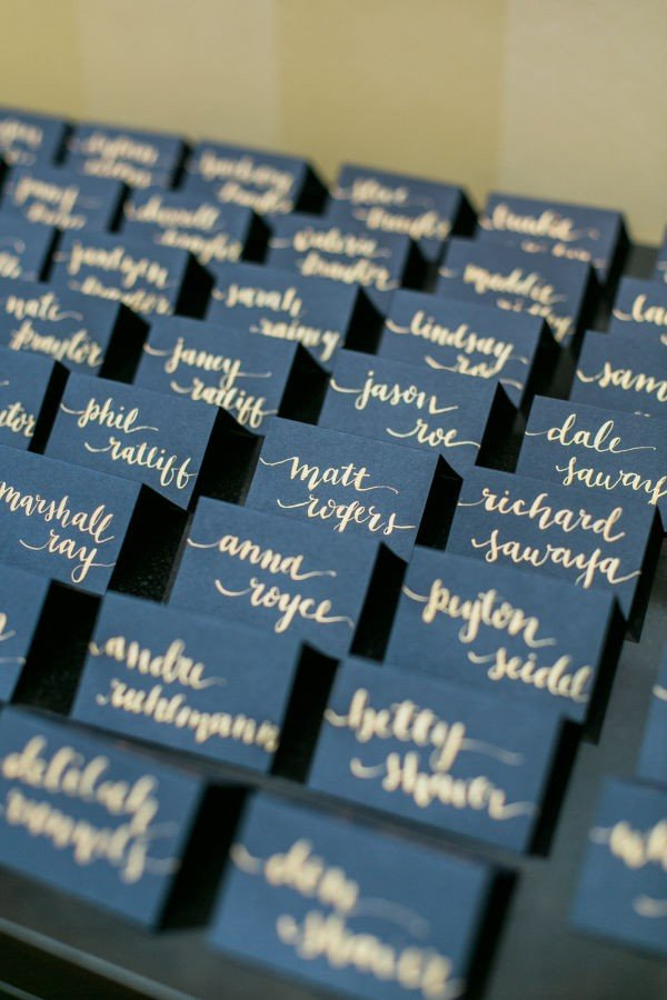 navy blue and gold wedding colors inpired escort cards