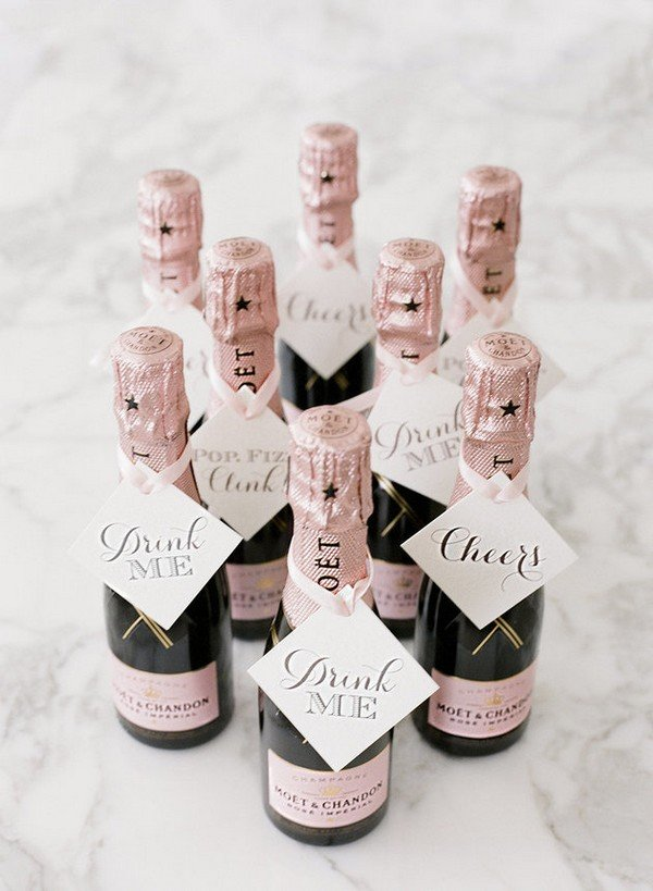pink champagne wedding favor ideas