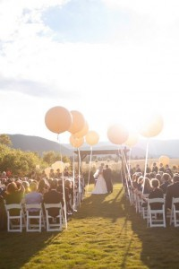 romantic outdoor wedding ceremony ideas with balloons