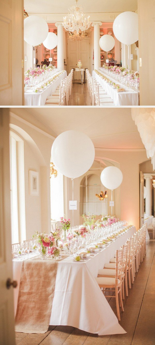romantic pink and gold wedding reception ideas with balloons