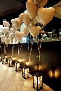 romantic wedding aisle decoration ideas with heart shaped balloons