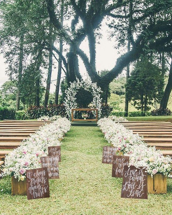 rustic outdoor wedding ceremony decoration ideas