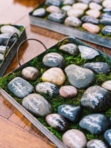 unique rock wedding escort cards