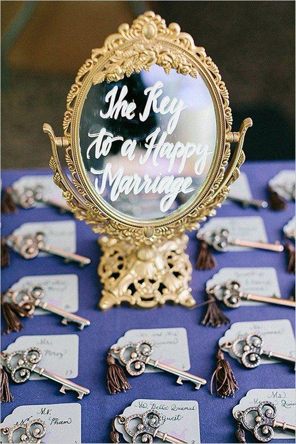 vintage wedding escort card ideas with keys and mirror