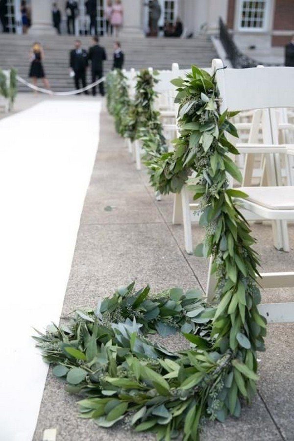 wedding ceremony aisle decoration ideas with herbs