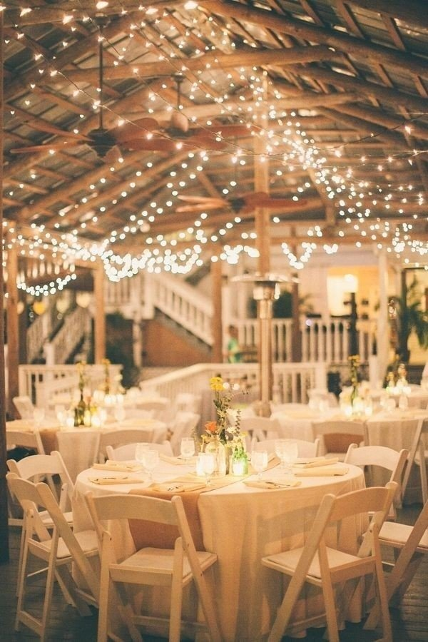 wedding reception ideas with lights for a rustic barn wedding