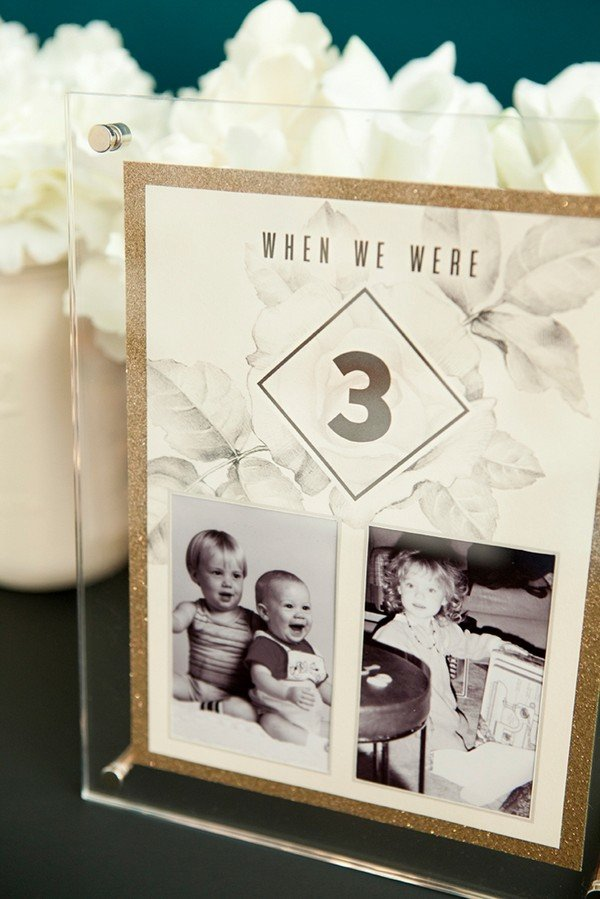DIY table numbers with photos of the bride and groom at each table number age