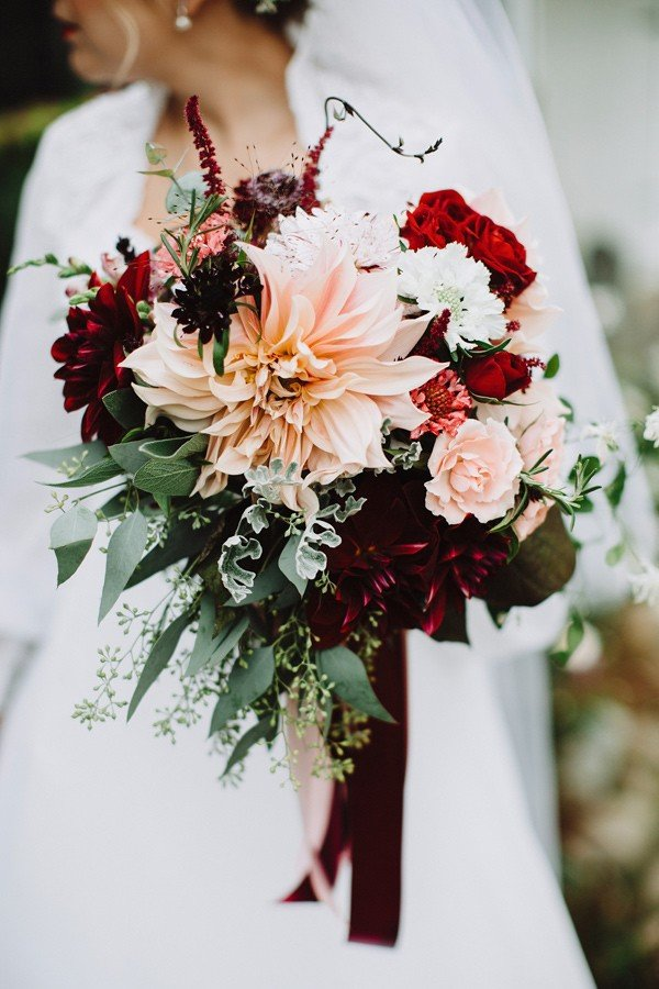 burgundy and blush wedding bouquet ideas with dahlia