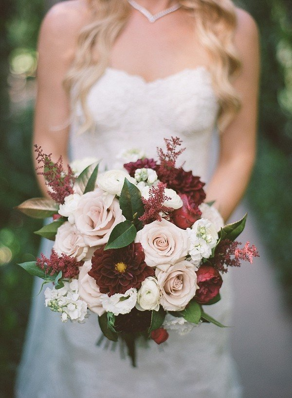 burgundy and blush wedding bouquets