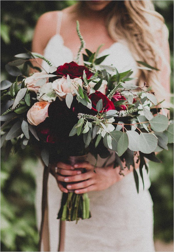 burgundy fall wedding bouquet ideas