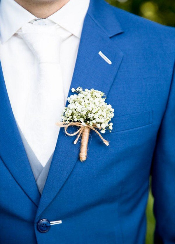 chic rustic boutonniere ideas with baby's breath and burlap