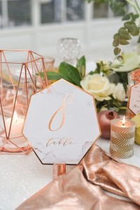 copper and marble wedding table number ideas