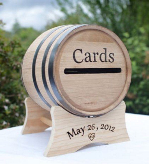 country rustic wine barrel wedding card box ideas