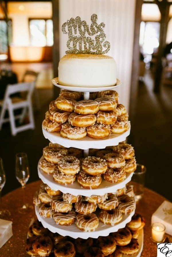 donut wedding dessert and cake display ideas