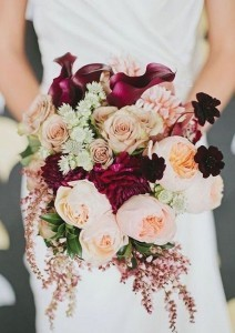 fall wedding bouquet ideas inspired by burgundy and blush wedding colors