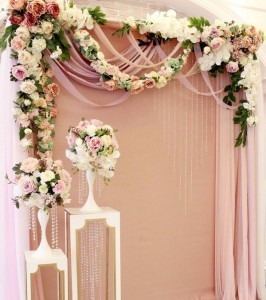 flowers decorated wedding backdrop ideas for ceremony