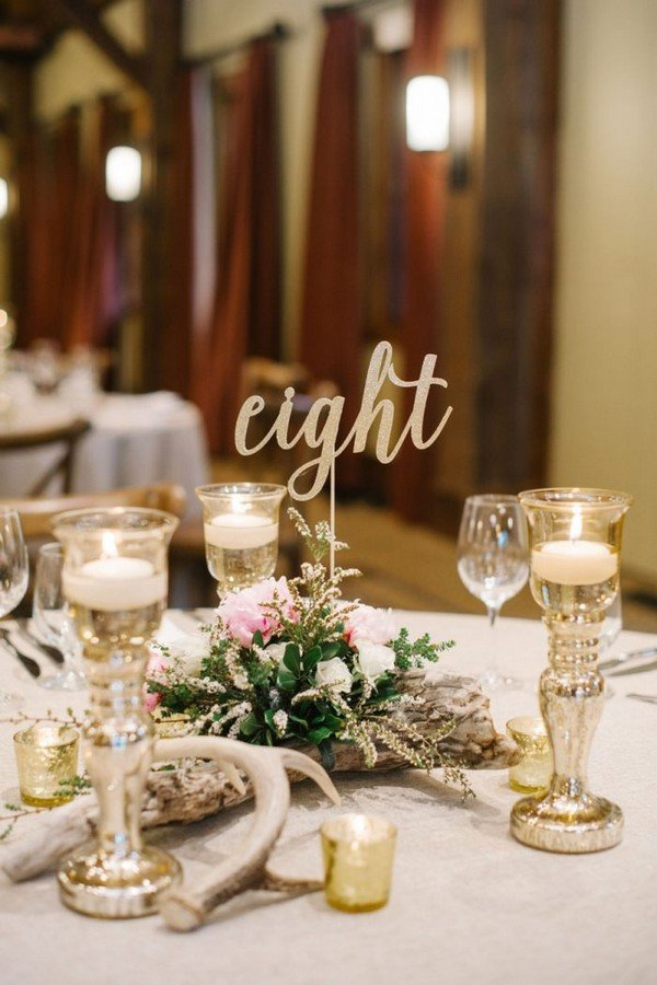 glittery gold calligraphy wedding table number ideas