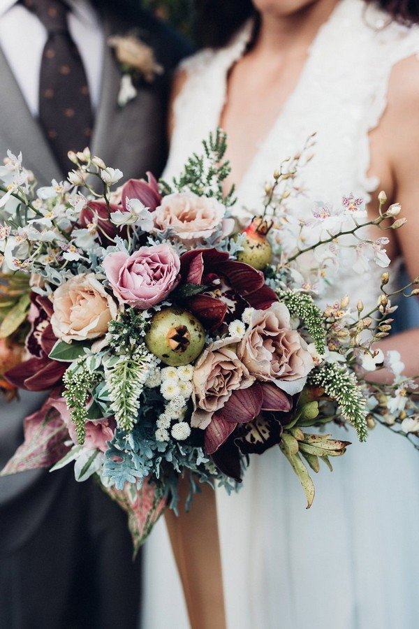 gorgeous burgundy blush and dusty rose wedding bouquets