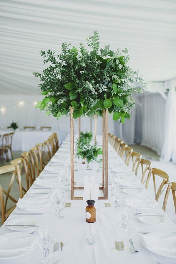 greenery huge tall wedding centerpiece ideas