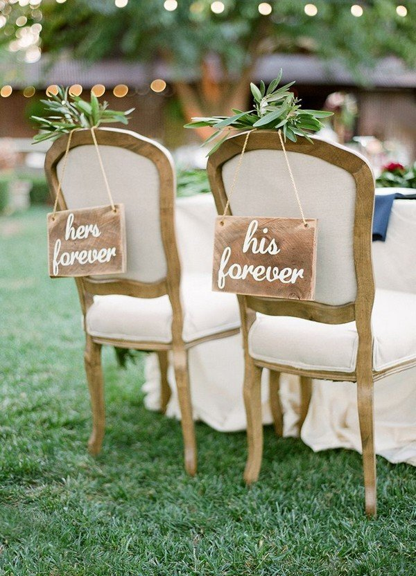 her forever and his forever wedding chair signs