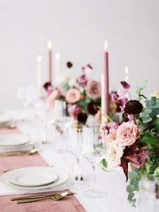 mauve shades of purple wedding table setting ideas