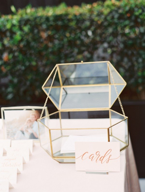 modern glam glass gold framed wedding card box ideas