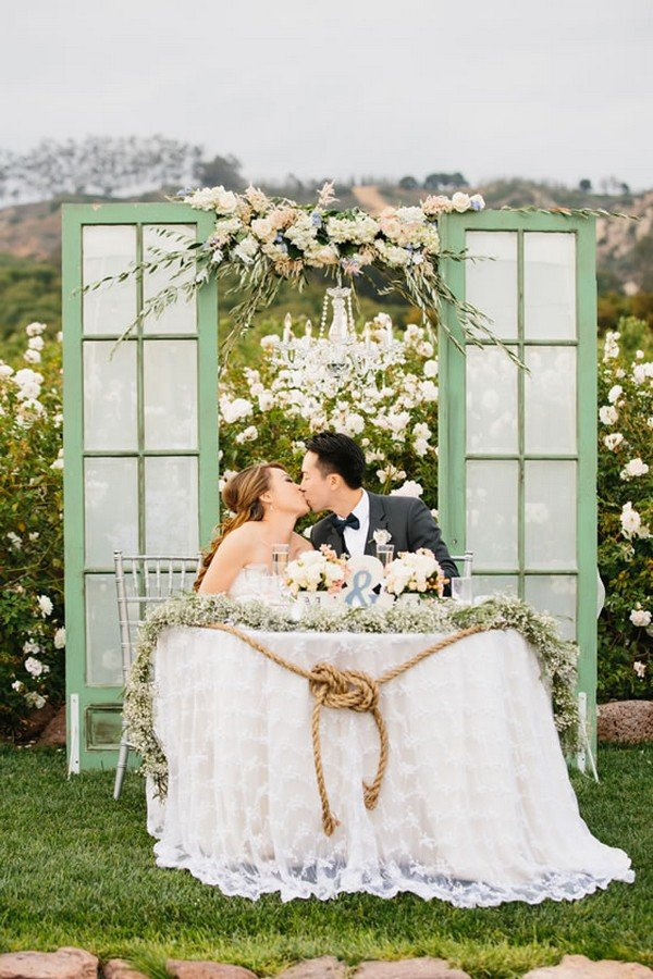 outdoor wedding sweetheart table decoration ideas