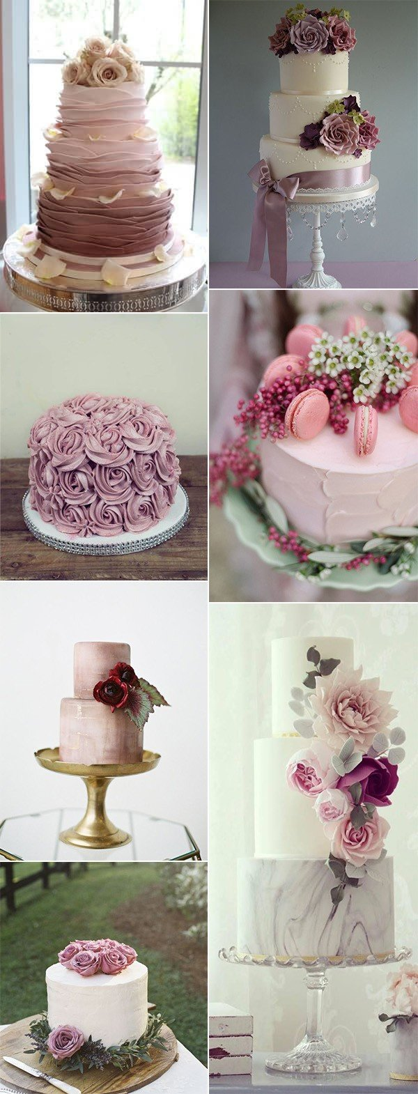 romantic mauve wedding cakes