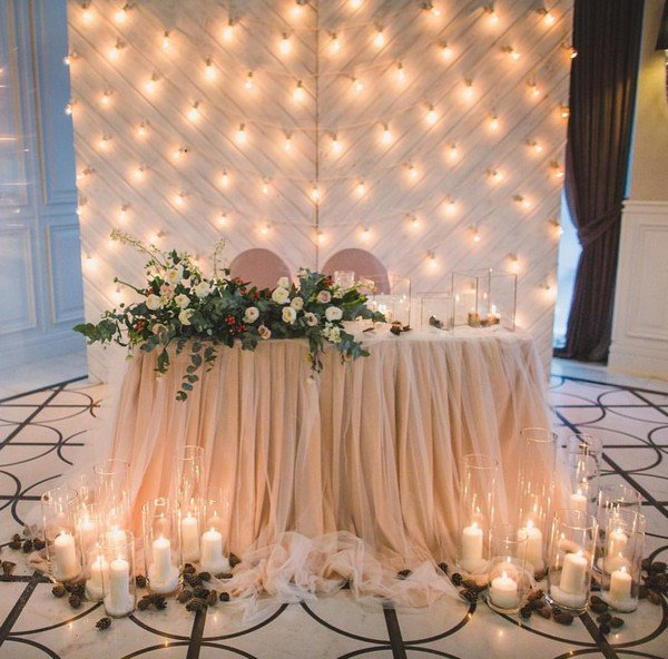 romantic sweetheart wedding table decorations with lights and candles