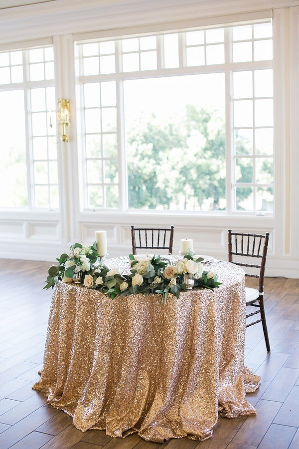 rose gold and greenery sweetheart table decorations