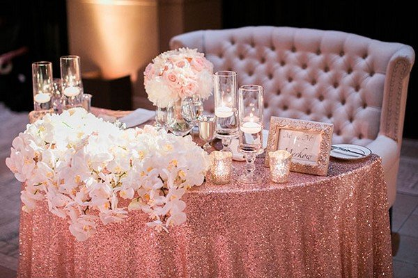 rose gold glittery bride and groom wedding table ideas