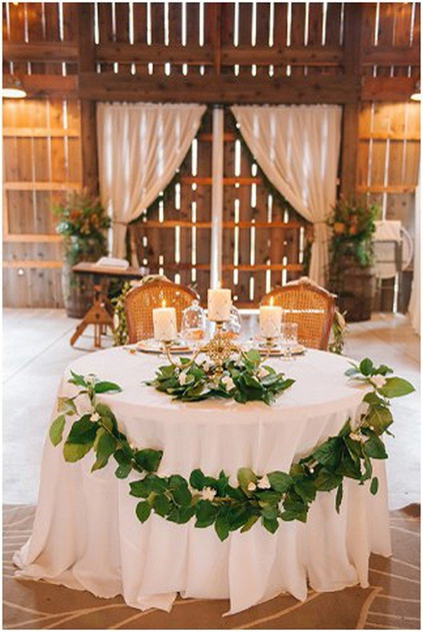 rustic chic wedding sweetheart table ideas