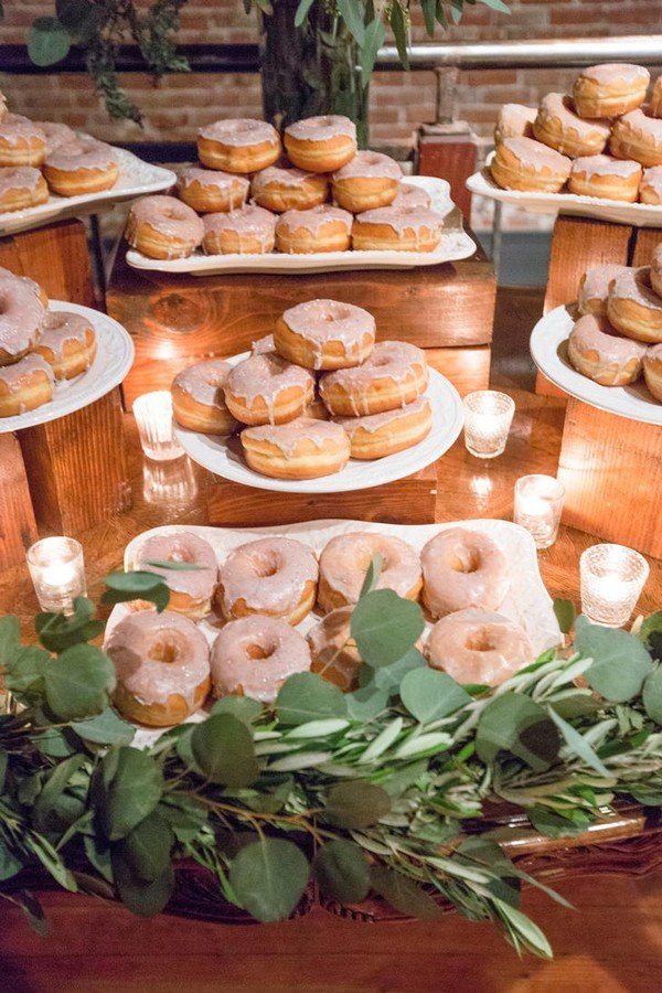rustic donut wedding bar display ideas