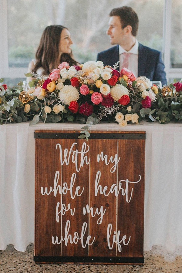rustic wedding reception sign for sweetheart table