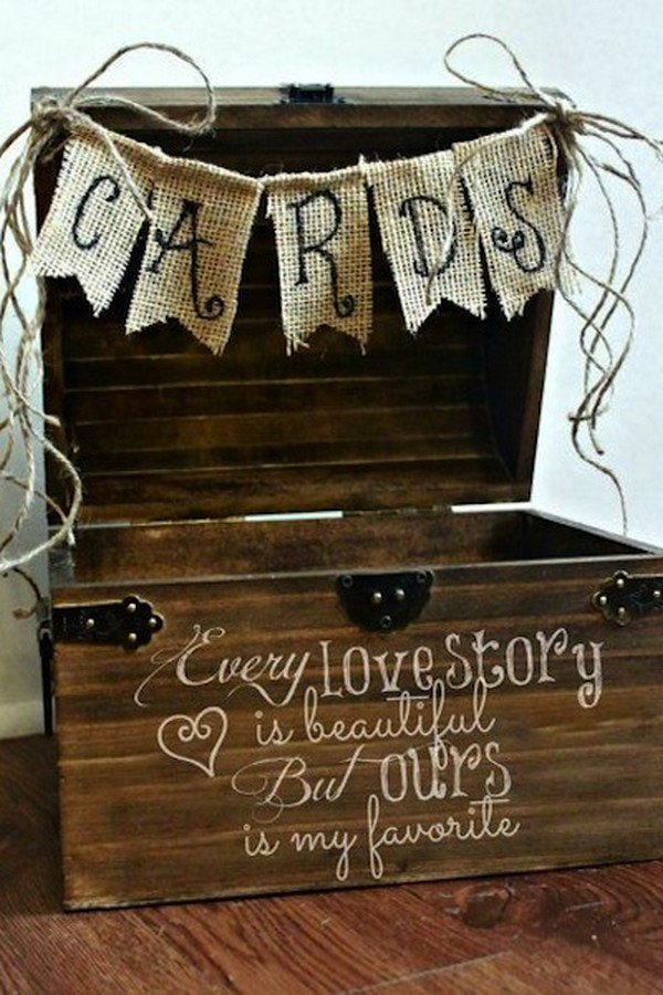 rustic wooden wedding gift card box ideas