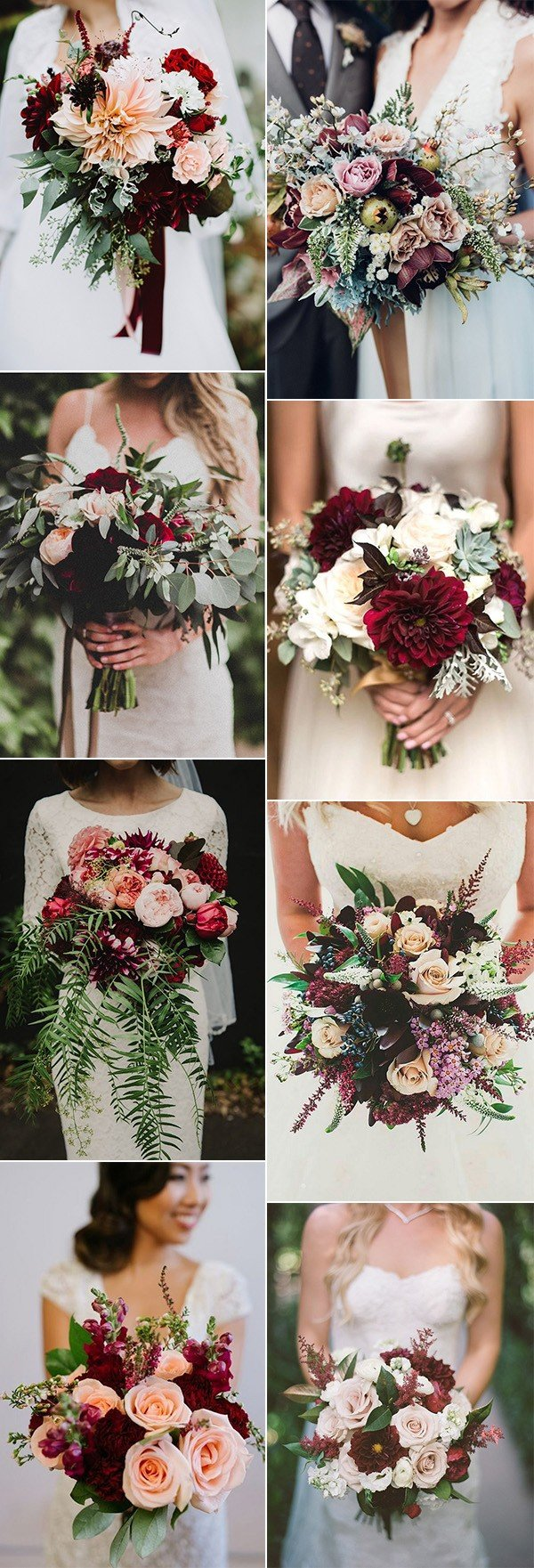 trending burgundy and blush wedding bouquet ideas