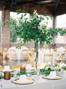 trending greenery tall wedding centerpiece