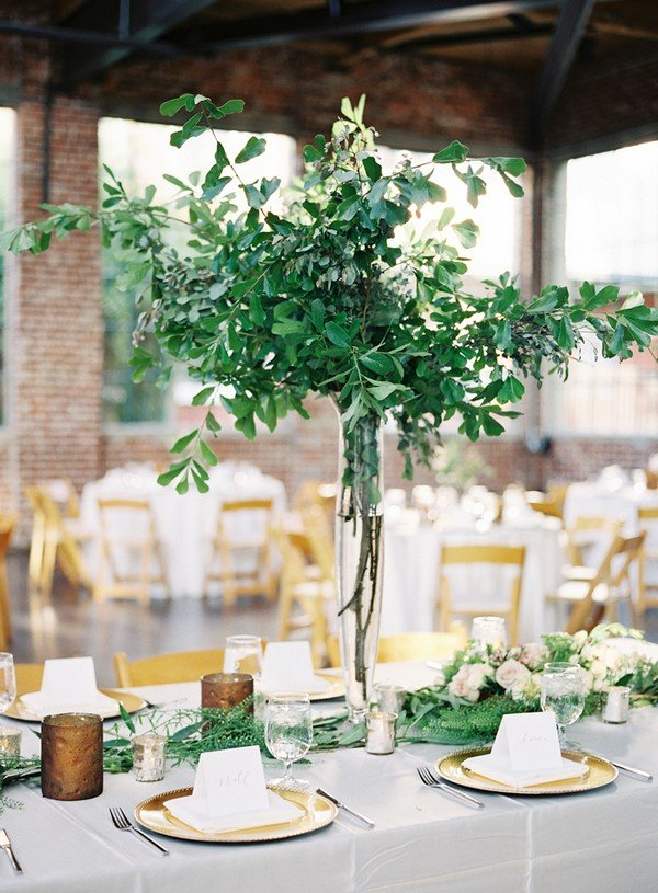 trending greenery tall wedding centerpiece