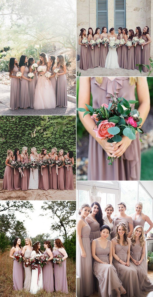 trending mauve bridesmaid dresses