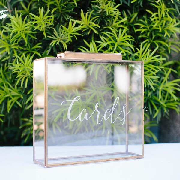 vintage metallic wedding card box ideas