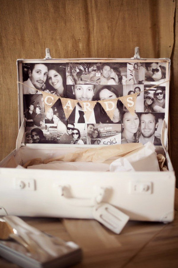 vintage suitcase wedding card box ideas with photo displays