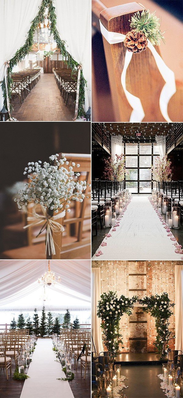 winter wedding aisles ceremony decoration ideas